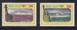 BHUTAN, 1986, Statue Of Liberty, American Independance, Ships,  2 Values, (1 Nu, 2 Nu) ,  MNH(**) - American Indians