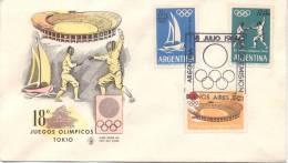 DECIMOCTAVOS JUEGOS OLIMPICOS DE TOKIO FDC 1964 SERIE COMPLETA SOBRE PRIMER DIA DE EMISION REPUBLICA ARGENTINA REPUBLICA