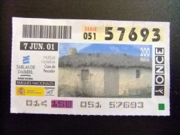 BILLETE DE LA ONCE (organización Nacional De Ciegos De España ) SORTEO 7 JUNIO 2001  Nº57693 - Billetes De Lotería