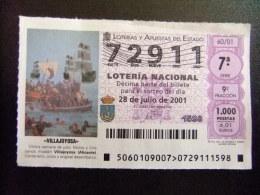 BILLETE DE LOTERÍA NACIONAL - SORTEO 28/07/2001 - Nº 72911 - Billetes De Lotería