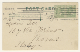 Postcard With Couple Of Halfpenny From London To Rome - Storia Postale