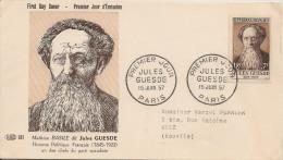 France - Enveloppe Premier Jour - Jules Guesde - Paris - 1957 - YT 1113 - FDC