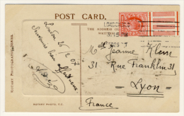 Postcard With A Penny With Broadband Half Sheet. From London To Lyon In France - Storia Postale