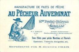 """Carte Commerciale Ancienne - Manufacture De Filets De Pêche """"Au Pêcheur Auvergnat""""Pradal-Malroux à Aurillac (Cantal) - France"""