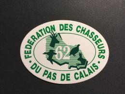 FÉDÉRATION DES CHASSEURS DU PAS DE CALAIS - Autocollant Publicitaire - Thème CHASSE - Stickers