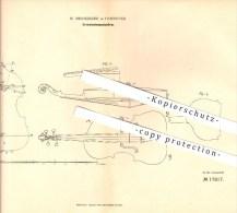 Original Patent - W. Neumärker In Hannover , 1881 , Streichinstrumentenform , Musik , Geige , Violine !!! - Musikinstrumente