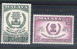 2 MNH Stamps Malaysia Malaya Malaisie 1960 World Refugee Year Réfugié - Malaysia (1964-...)