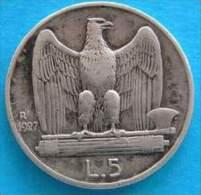 REGNO -  5 Lire Aquilino1927  Argento Bb - 1861-1946 : Regno