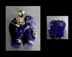 Pendentif éléphant Ganesh Oriental En Lapis-lazuli / Vintage Lapis Lazuli And Gold Ganesh Lucky Elephant Pendent - Pendants