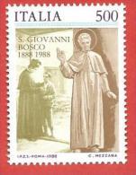ITALIA REPUBBLICA MNH - 1988 - Centenario Della Morte Di San Giovanni Bosco - £ 500 - S. 1824 - 6. 1946-.. Repubblica