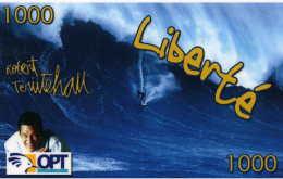 """Telecarte De Nouvelle Caledonie Liberté 1000 """" Robert Teriitehau 3 Bord Blanc - Nouvelle-Calédonie"""