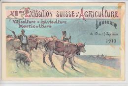 LAUSANNE-8e EXPOSITION SUISSE D'AGRICULTURE - 1910 - CARTE OFFICIEL -N/C -(legerement Tachée A Droite ! ) - VD Vaud