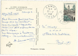 CARTE POSTALE 1958 AVEC CACHET POINTILLE DE RECETTE DISTRIBUTION DE CAMPO-CORSE - Marcophilie (Lettres)