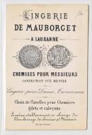 LINGERIE DE MAUBORGET - LAUSANNE- CARTE DE VISITE AVEC EN FACE ARRIERE UNE ANCIENNE VUE COLLEE DE LAUSANNE 1870 - Cartes De Visite