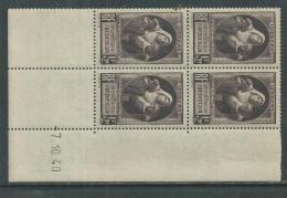 France N° 465 XX Au Profit Des Victimes De La Guerre En Bloc De 4 Coin Daté Du 7 . 10 . 40 Sans Charnière, TB - 1940-1949