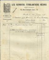 BRUXELLES   LES OUVRIERS FERBLANTIERS REUNIS  Fabrication De Compteurs A Gaz Et Autres Appareils   10.07.1917 - 1900 – 1949