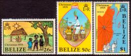 BELIZE 1975 SG #436-38 Part Set Missing Low Value MNH OG Christmas - Belize (1973-...)
