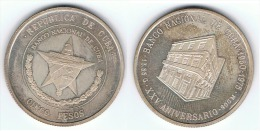 CUBA 5 PESOS  1975 ANIVERSARIO BANCO NACIONAL PLATA SILVER - Cuba