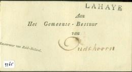 VOORLOPER * BRIEFOMSLAG Uit 1814 Van GOUVERNEUR ZUID-HOLLAND LAHAYE  Aan GEMEENTEBESTUUR OUDSHOORN   (9765) - Netherlands