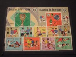 PARAGUAY-1970 CALCIO 9 VALORI+2 BF , Soprastampati MUESTRA(1.000 Tiratura?) - NUOVI(++) - Paraguay