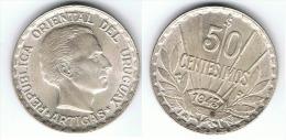 URUGUAY 50 CENTAVOS ARTIGAS 1943 PLATA SILVER B - Uruguay