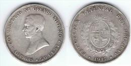 URUGUAY 50 CENTAVOS ARTIGAS 1917 PLATA SILVER - Uruguay