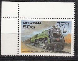 BHUTAN, 1987 CAPEX 87, Locomotives, Trains, 1 Value, 50ch, MNH(**) - Treni