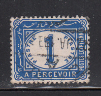 Egypt Used Scott #J17 SG #86 1pi Postage Due, Ultramarine, Watermark Sideways - Égypte