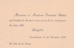 CARTES FAIRE PART NAISSANCE BARS 1948 CASABLANCA                     TDA56 - Naissance & Baptême