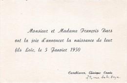 CARTES FAIRE PART NAISSANCE BARS 1950 CASABLANCA                     TDA56 - Naissance & Baptême