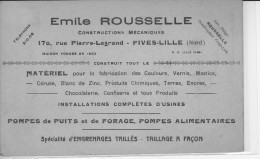 FIVES-LILLE - Emile ROUSSELLE - Constructions Mécaniques (rare) - France