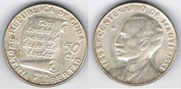 CUBA 50 CENTAVOS MARTI 1953 PLATA SILVER - Cuba