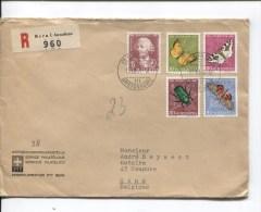 Suisse-Switzerland L.recommandée Pro Juventute Papillons-Butterflies C.Bern En 1957 V.Gand Belgium PR2046 - Suisse