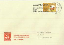Le Sentier Vallee De Joux Perle Du Jura See Wald Jahr Des Friedens 1986 - Storia Postale