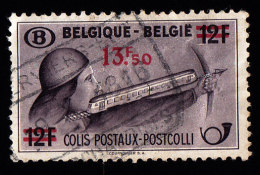 """BELGIUM - Scott # Q306 """"Surcharged"""" Crossbpoman With Train / Used Stamp - 1942-1951"""