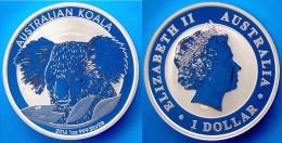 AUSTRALIA 1 $ 2014 ARGENTO PROOF SILVER 999 OZ KOALA PESO 31,635g TITOLO 0,999 CONSERVAZIONE FONDO SPECCHIO UNC - Australia