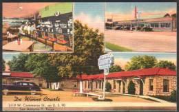 San Antonio 7, Texas - De Winne Courts - Linen Postcard - San Antonio