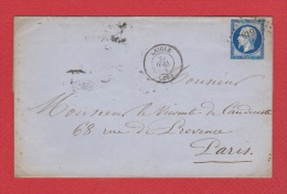 Pli  //  De Laigle  // Pour Paris  // - Marcophilie (Lettres)