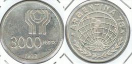 ARGENTINA 3000 PESOS 1977 MUNDIAL PLATA SILVER - Argentina