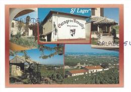 """CPM - SAINT-LAGER (69) Multivues - (vue Sur Le Caveau """"Cuvage Des Brouilly"""" Dégustation, Son église, Le Chateau... - France"""