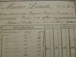 Facture 1827 Moutier Lamotte Marchand De Fer Ernée En Mayenne.Magasins à Fougères, Avranches,..... - France