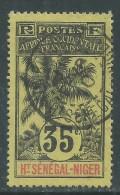 Haut-Sénégal N° 10 O  Type  Palmiers  : 35 C.  Noir Sur Jaune Oblitération Moyenne Sinon TB