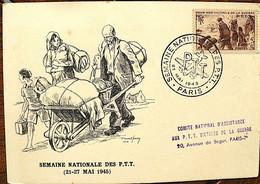 FRANCE Semaine Nationale Des PTT . Paris 21 Mai 1945 - Poste