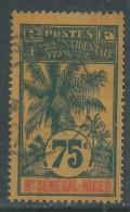 Haut-Sénégal N° 14 O  Type  Palmiers  : 75 C.  Bleu Sur Jaune-orange Assez Faible Oblitération Sinon TB