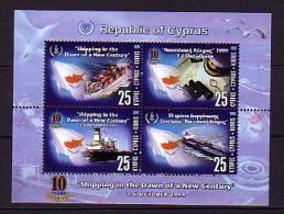 1999 chypre neuf ** bloc n� 19 transport : bateau : jumelle : casquette : p�trolier : drapeau