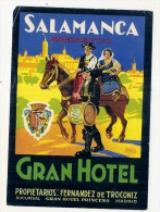 Etiquette D'hotel  15cm  GRAN HOTEL SAMANCA Plis Chromo Litho - Etiquettes D'hotels