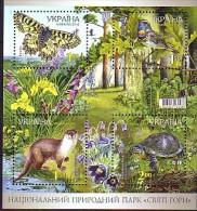2010 ukraine neuf ** bloc n� 77 faune : papillon : loutre : oiseau : gorgebleu