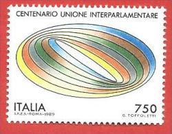 ITALIA REPUBBLICA MNH - 1989 - Centenario Dell'unione Interparlamentare - £ 750 - S. 1876 - 6. 1946-.. Repubblica
