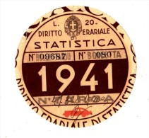 BOLLO AUTO -- TASSA DI CIRCOLAZIONE -- DIRITTO ERARIALE DI STATISTICA -- 1941 -- L. 20 -- - Stamps (pictures)
