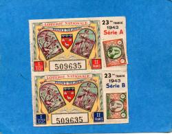 Loterie Nationale Année 1943- 23°Tranche Série A  -2 Billets Illustrés Mineurs-paysanne - Billets De Loterie
